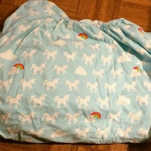 Target Blue Unicorn & Rainbow Flannel Fitted Sheet